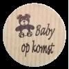K110 rol @ 500 permanent rond 35 kraft zwart bedrukt baby op komst